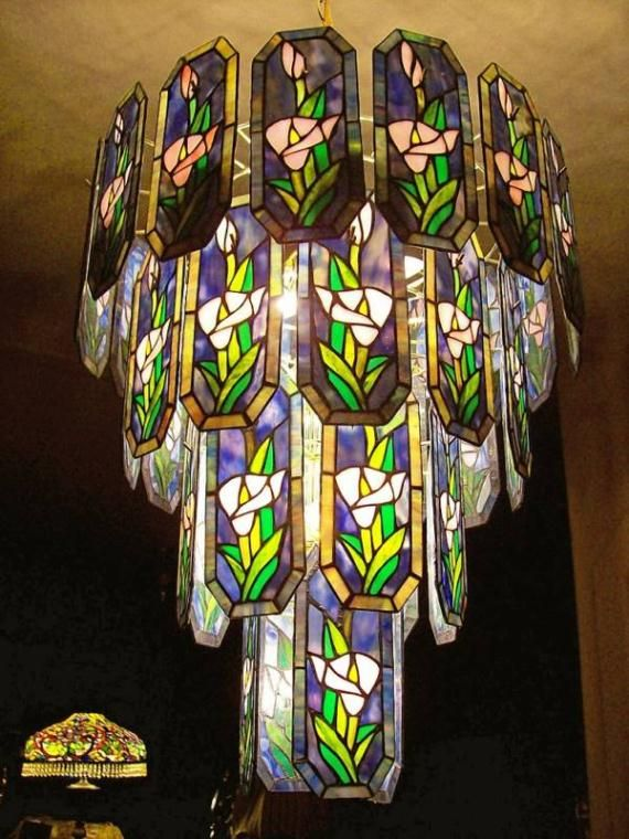 Stained glass Chandelier - try to adapt for bedside pendants with single color small panels