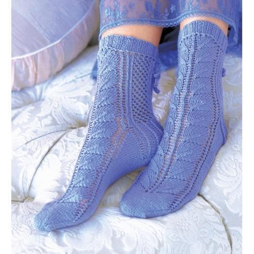 Mavi yün örgü bayan çorap
