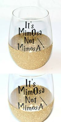 Harry Potter Glitter Wine Glass / It's MimOsa Not MimosA / Harry Potter Wine Glass / HP Wine Glass / Personalized Christmas Gift for Her #wineglass #harrypotter #personalized #Mimosa #affiliatelink