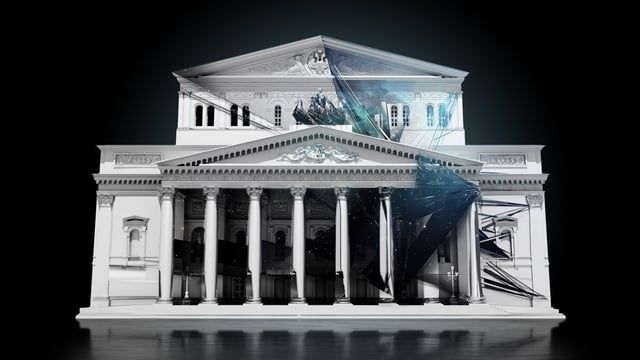 "Special project for the 5th International Festival ""Circle of Light"".  A remake of the classic Swan Lake ballet created in memory of the famous Russian ballet dancer Maya Plisetskaya on the facade of Bolshoi Theatre.  Location: Moscow, Russia Dates: September 26th – October 4th 2015"