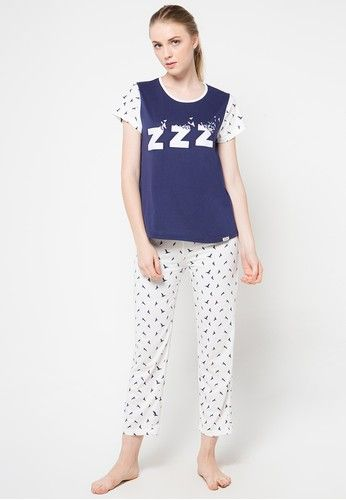 Short Sleeve Long Pants from Puppy in white and navy_1