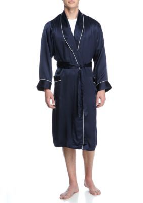 Geoffrey Beene Navy Silk Shawl Collar Robe