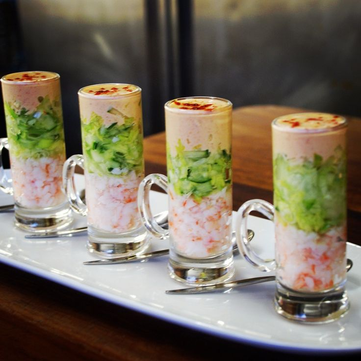 108 best images about presentation plating on pinterest for Mini prawn cocktail canape
