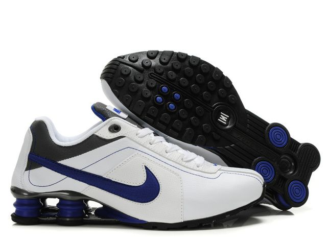 Mens Nike Shox R4 White Blue Dark Grey Shoes Sale on ShoxR4ShoesSale.com  ,only