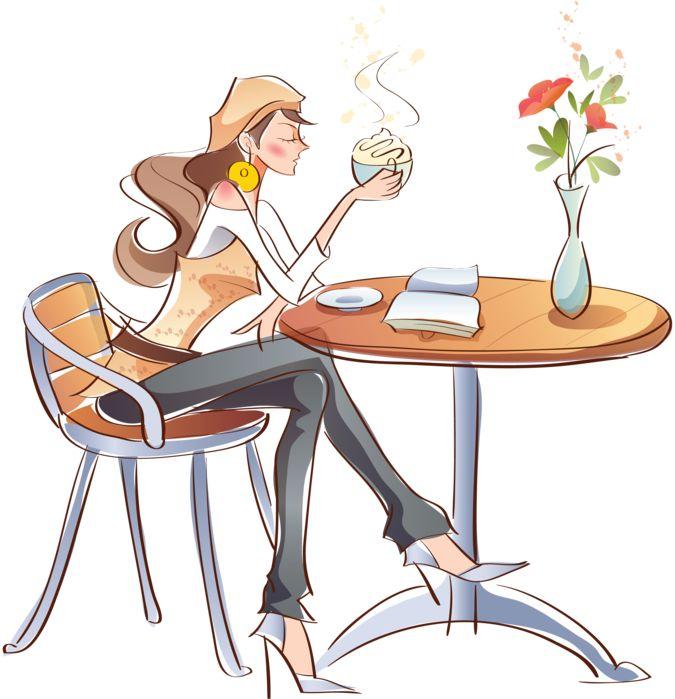 девушка за столиком в кафе рисунок: 17 тыс изображений найдено в Яндекс.Картинках