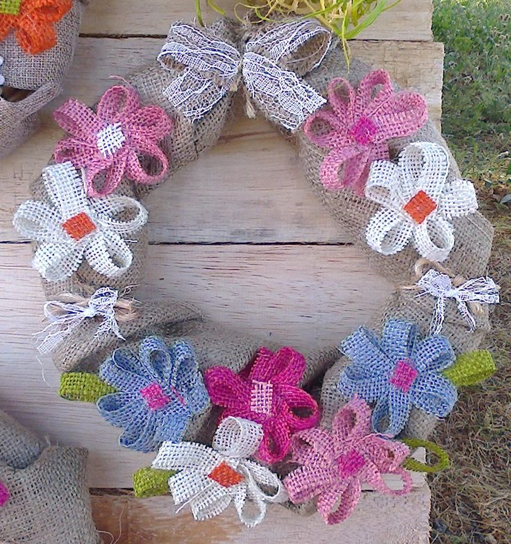 Spring Wreath made with burlap