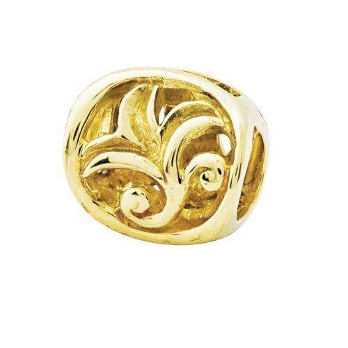 14K Gold Leaf Design Bali Bead Apples of Gold. $239.00