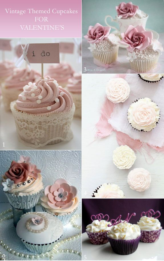 Vintage-style cupcakes in pink and white - perfect for a spring tea party