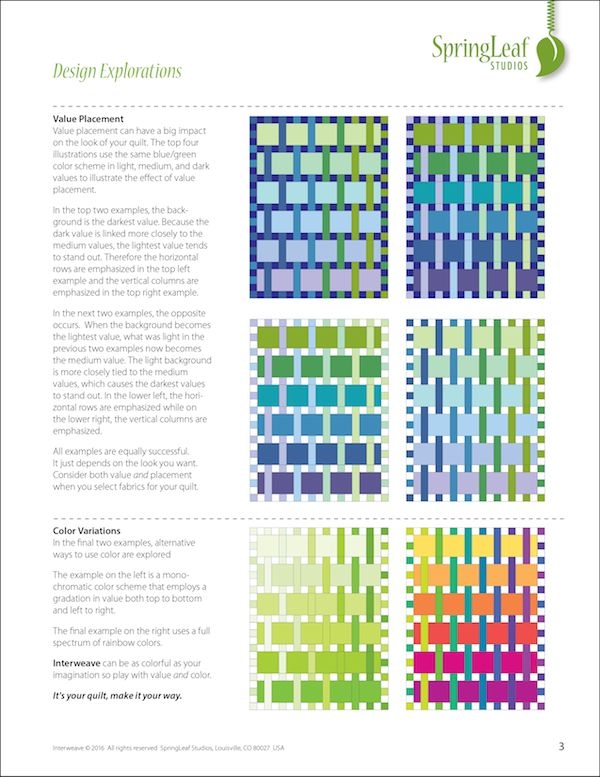 Interweave quilt pattern, Springleaf Studios. Design Explorations are included in all her patterns so you can see how the quilt is built and how to make it your own
