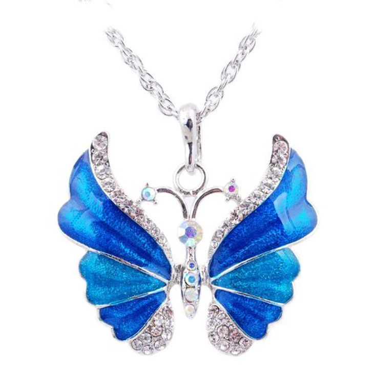 Eyourlife Christmas New Fashion Retro Butterfly Crystal Rhinestone Pendant Necklace Blue: Jewelry: