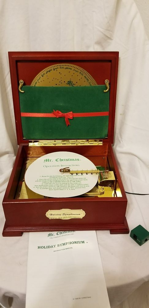 1999 Mr. Christmas Holiday Symphonium Wooden Music Box Plays 16 Songs Discs Box | Collectibles, Decorative Collectibles, Music Boxes | eBay!