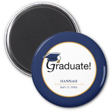 Congratulations Graduate Hat Tassel Blue Gold Magnet - graduation gifts giftideas idea party celebration