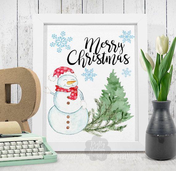 Merry Christmas Print Holiday Art Decor by PrettyStylingArt