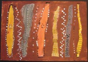 Aboriginal kunstwerk met acrylverf en pastelkrijt