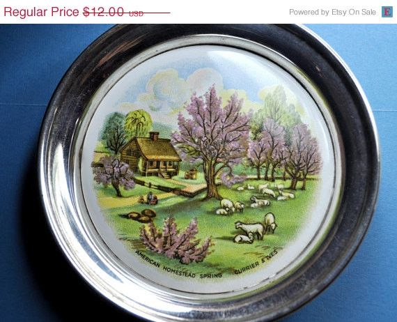 Vintage Sheridan Silver Currier and Ives Round Trinket Dish, American Homestead Spring, Pin Dish, Coaster, Ahh Spring! #A346