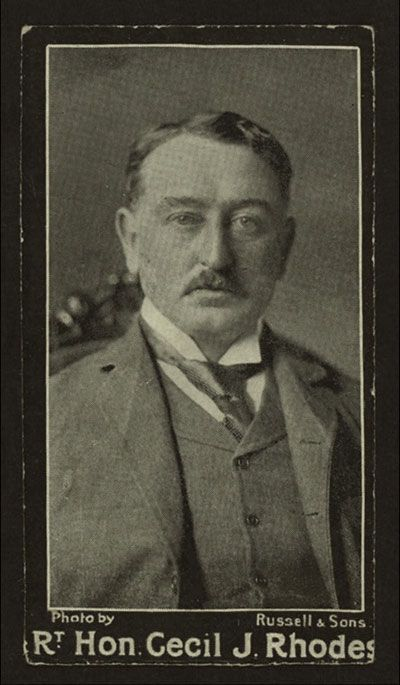 """Cecil John Rhodes (1853–1902) was the man who envisioned a British colonial presence in Africa from """"Cape to Cairo."""" A staunch racist and imperialist, he was prime minister of the colony of South Africa and founded and gave his name to Rhodesia, which became North and South Rhodesia and finally Zambia and Zimbabwe after independence. Rhodes established the De Beers Consolidated Mines for diamonds in 1888 and the Rhodes Scholarship."""
