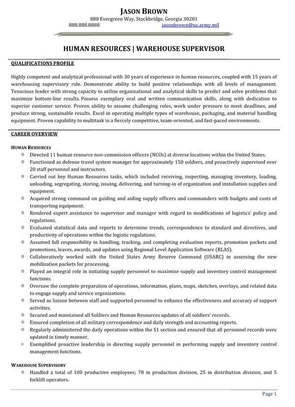 Human Resources / Warehouse Supervisor Resume (Sample)
