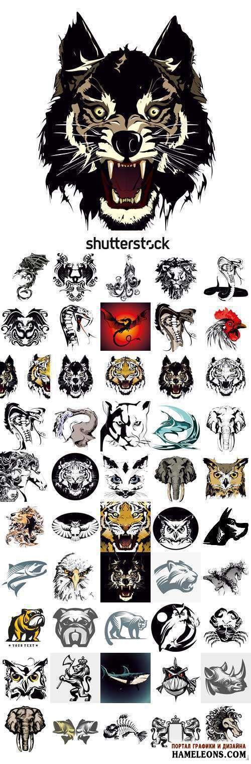 Креативные татуировки в векторе с животными   Vector Creative Tattoo with animals