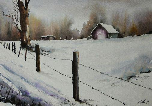 Snow+on+farm%2C+watercolour+painting+by+Graham+Kemp..JPG (506×353)