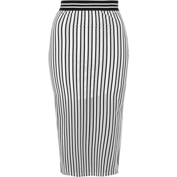 TopShop Airtex Stripe Tube Skirt found on Polyvore featuring skirts, topshop, striped midi skirt, mid calf skirts, striped tube skirt, topshop skirts and white midi skirt