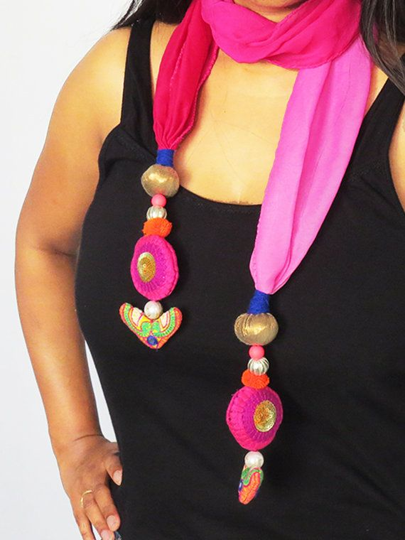 #Fuchsia #Pink colorful #Handmade #Scarves #embroidered by iThinkFashion, $26.50