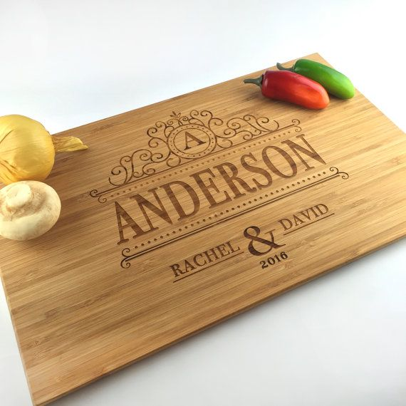 cutting board wedding gift monogram last name chopping block laser engraved bamboo cutting board wedding