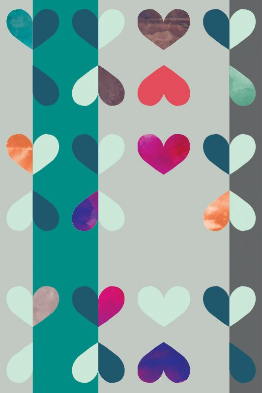Pattern Hearts Apart Color Teal Purple 169 Timothy Sue