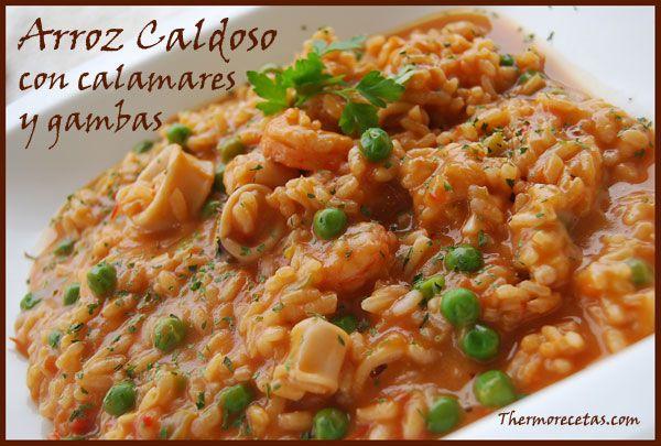 Receta de arroz caldoso con calamares y gambas. #arroz #recetas #thermomix