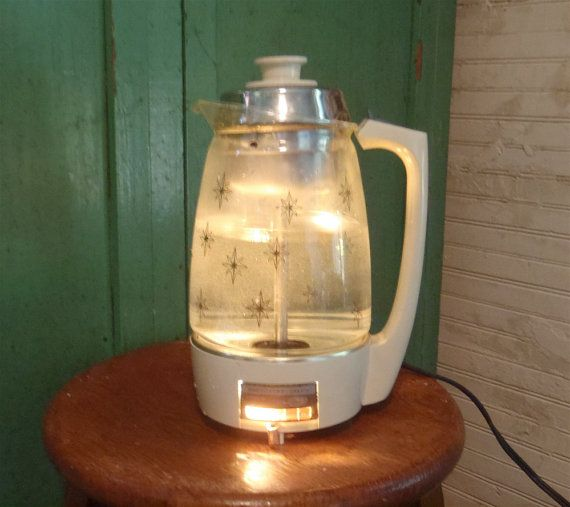 Lit From Within Atomic Star Large Vintage Coffee Percolator