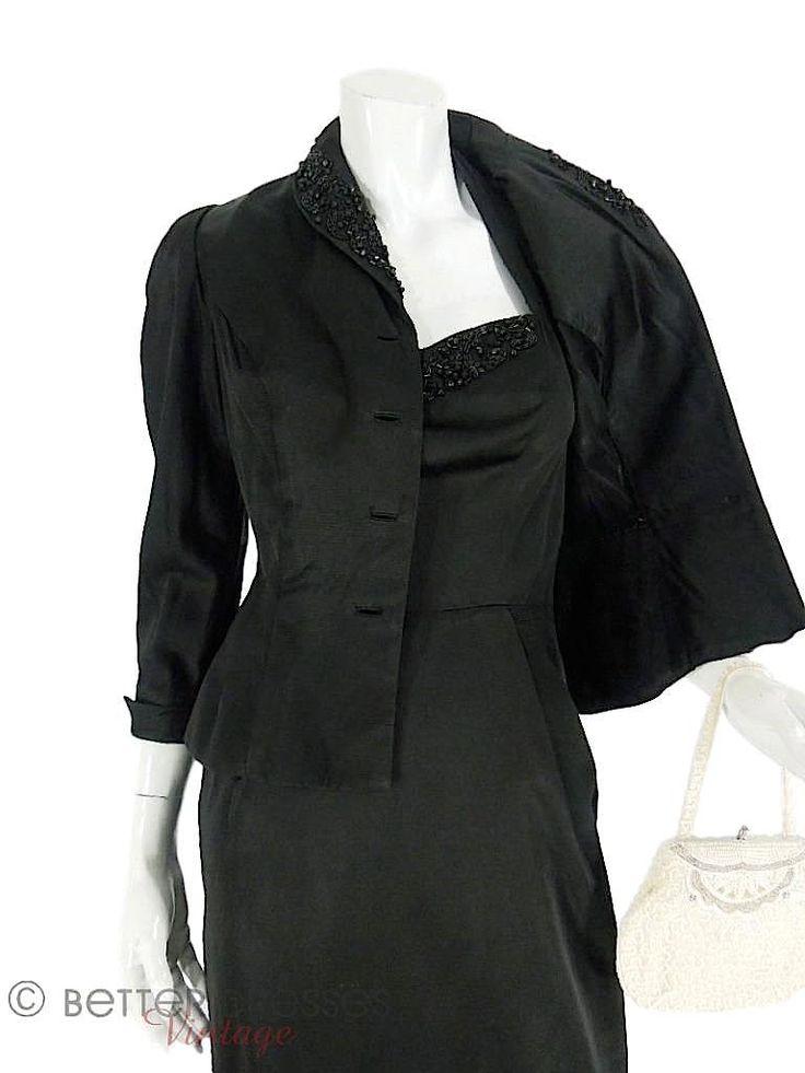 40s/50s Black Halter Dress & Peplum Jacket - sm