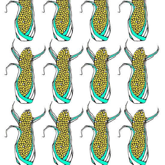 Corn Rows Giclée art print by Kerise Delcoure. This corny little design started out as a pen and ink sketchbook drawing and was completed digitally. Available at https://society6.com/kerisedelcoure and https://www.redbubble.com/people/kerisedelcoure.