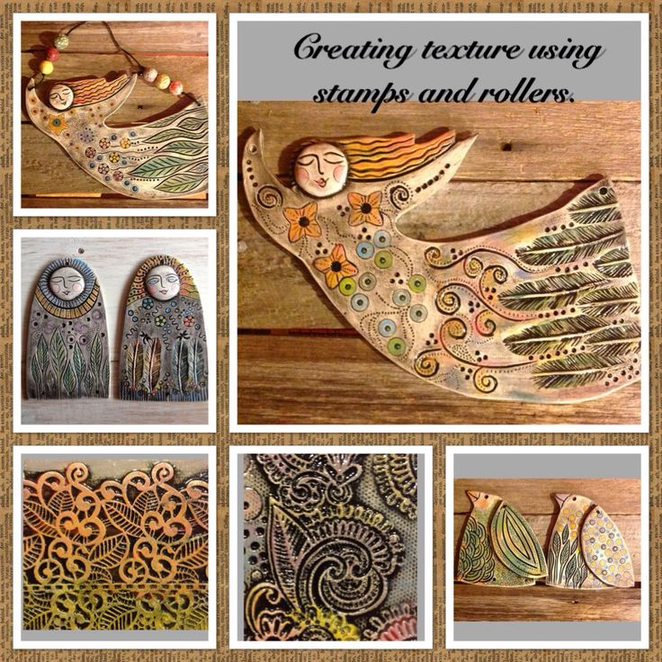 Angels and birds. Creating texture using stamps and silicone fondant mats.