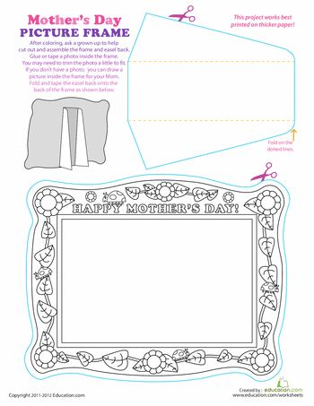 Worksheets: Print a Paper Picture Frame for Mother's Day