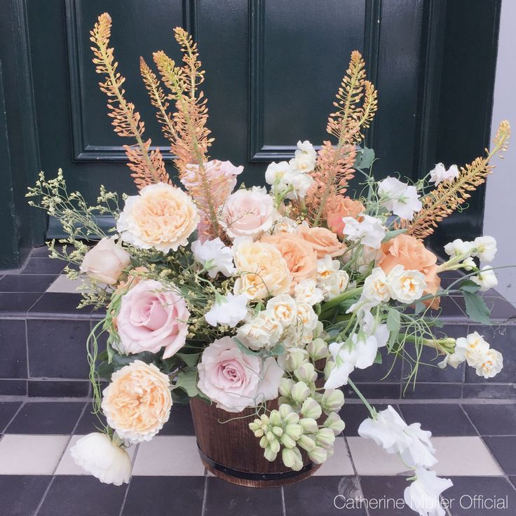 Vintage floral basket arrangement roses eremus sweet pea  Vintage class Catherine Muller Flower School London
