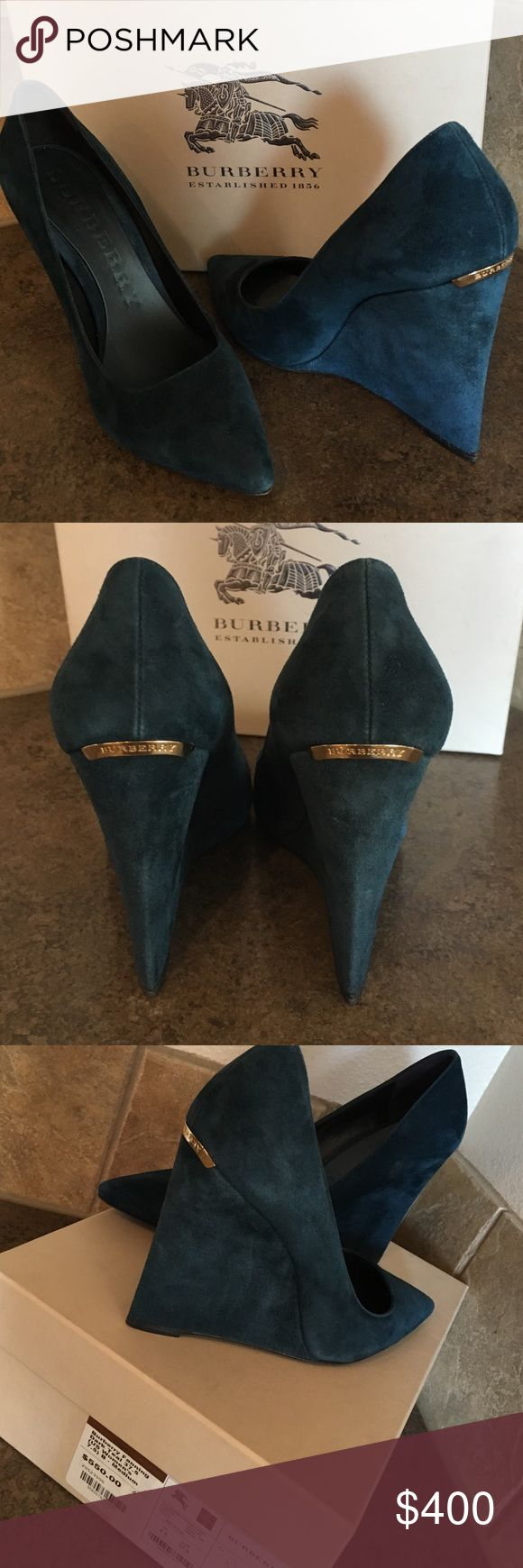 Burberry Fanning Dark Teal Wedges US size 7.5 Burberry pointed wedge pump, dark Teal suede. Worn twice to dinner. MSRP $550.00. Burberry Shoes Wedges