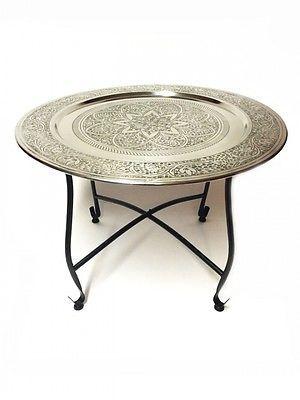 Nice Orientalischer Tisch mit klappbaren Gestell silberfarbig