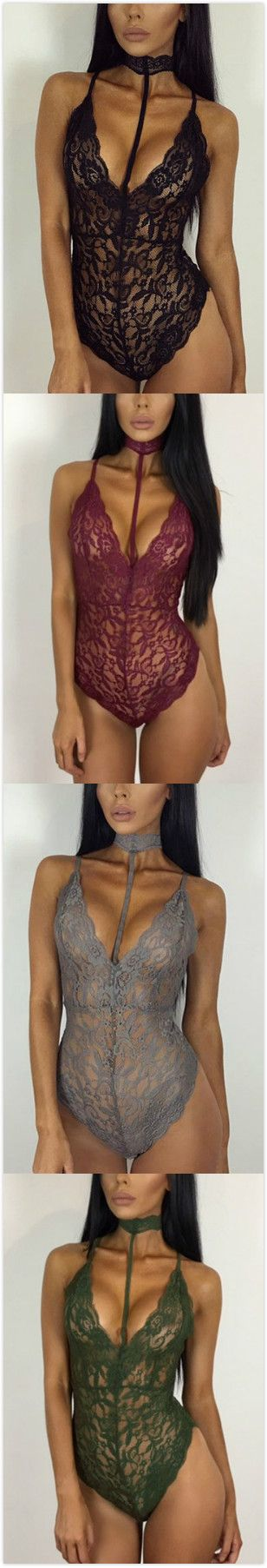 Halter Neck Strappy Lace Bodysuit http://bellanblue.com