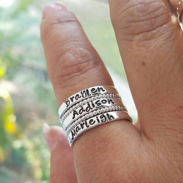 Sterling Silver Stacking Rings, Set of 5 rings, Personalized Name ring, Hand Stamped rings, Name Rings, Stackable Name Rings, Mother ring