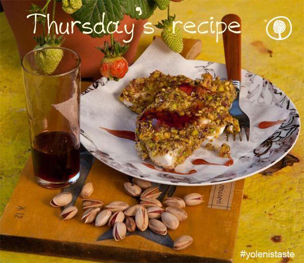 A perfect accompaniment for raki: Breaded kalathaki from Lemnos with Aegina pistachios and sour cherry juice!  Cook the recipe here: http://bit.ly/1HA8Ojw #KaliOrexi #thursdaysrecipe #yolenistaste #greece #recipe