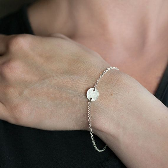 """Simple Tiny Silver Disc Bracelet / Minimalist Sterling Silver Everyday Jewelry by burnish 8"""" please"""