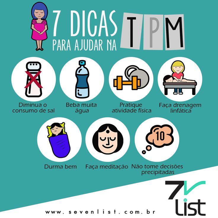 #Design #Infográfico #SevenList #TPM #Mulheres #Saúde #Period #Água #Exercícios #Relaxar #Drenagem #Sódio