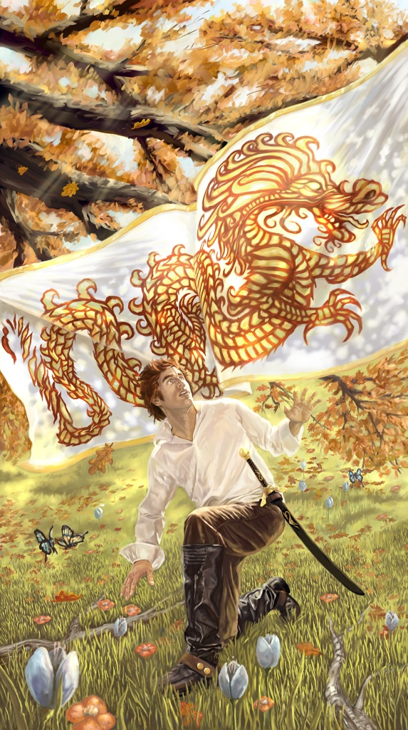 """The Dragon Reborn""  Rand Al'Thor From the Wheel of Time book series by Robert Jordan. This image depicts the revealing of the Dragon Banner."