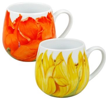 S/2 Poppy and Sunflower Snuggle Mug traditional cups and glassware....what an eyeopener in the morning!☺