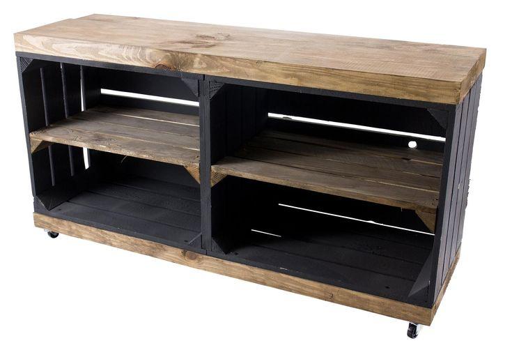 Vintage Mobel 24 Tv Schrank Aus Regalkisten Schwarz Und Used Etsy Pallet Furniture Shoe Rack Rustic Wooden Furniture Black Sideboard