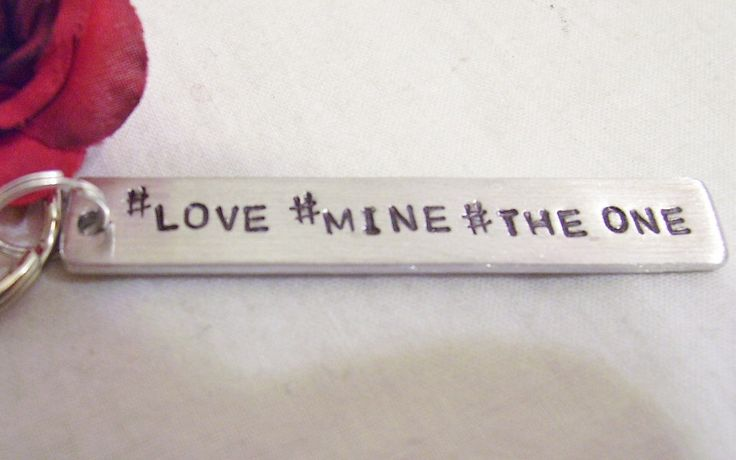A personal favorite from my Etsy shop https://www.etsy.com/listing/222052440/hashtag-hash-tag-key-chain-hand-stamped
