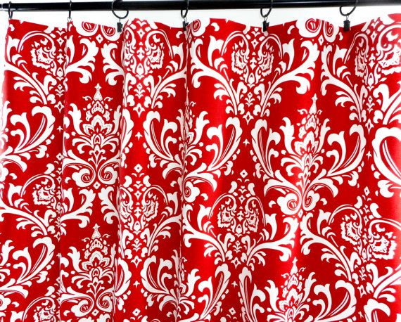 Red Curtains. Damask Red Curtains. 2 Panel by TwistedBobbinDesigns