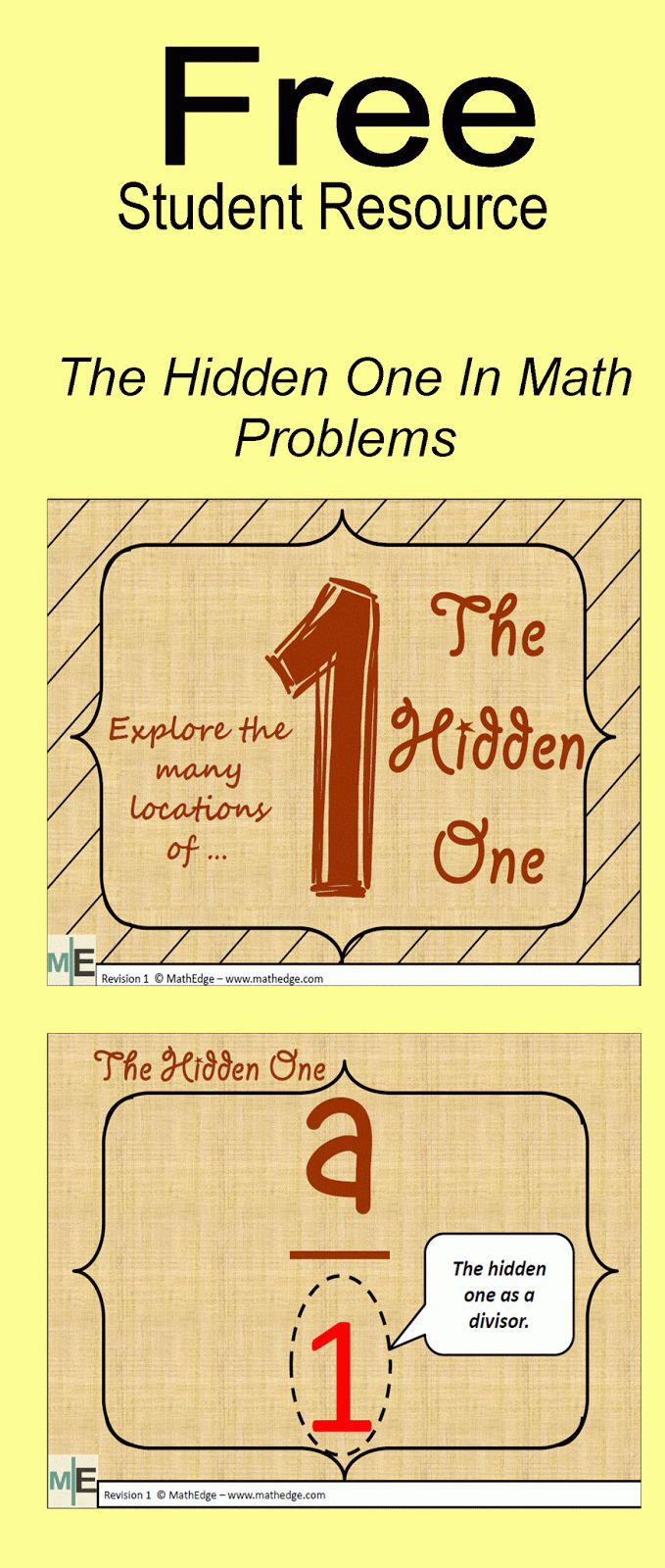 Literacy & Math Ideas: **Free Math Resource**The Hidden One In Math Problems