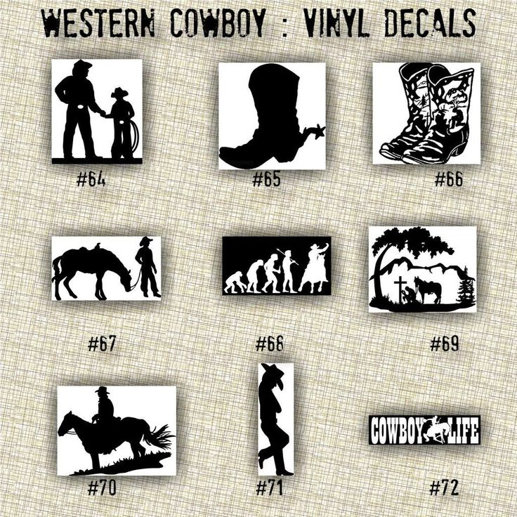 Best VINYL DECALS Western Cowboy And Cowgirl Images On - Cowboy custom vinyl decals for trucks