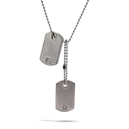 Petite CZ Double Dog Tag Pendant Length 18 inches (Lengths 18 inches 20 inches 24 inches Available) Eve's Addiction. $34.00. Charm Size: 1 inch