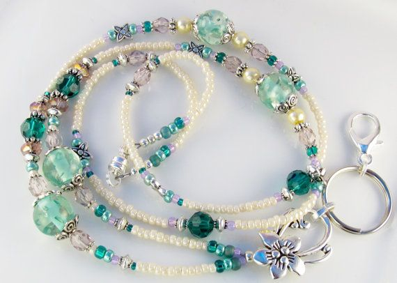 Beaded Lanyard ENCHANTED BEAUTY ID Badge Holder by curlynetto, $21.99